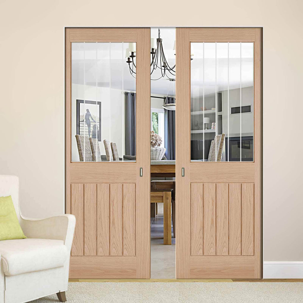 Belize Oak Absolute Evokit Double Pocket Doors - Silkscreen Etched Clear Glass - Unfinished