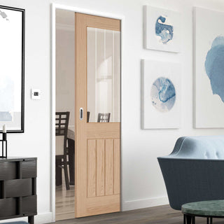 Image: Belize Oak Single Evokit Pocket Door - Silkscreen Etched Clear Glass