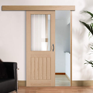 Image: Single Sliding Door & Wall Track - Belize Oak Door - Silkscreen Etched Clear Glass - Unfinished
