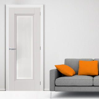 Image: J B Kind White Classic Belton Primed Door - Etched Glass