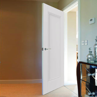 Image: J B Kind White Classic Belton Panel Primed Fire Door - 1/2 Hour Fire Rated