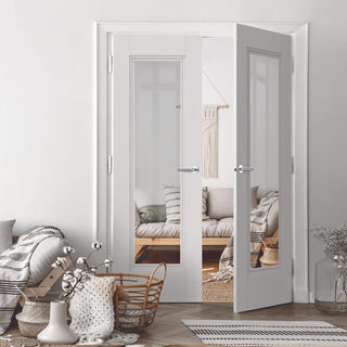 Image: J B Kind White Classic Belton Primed Door Pair - Clear Glass