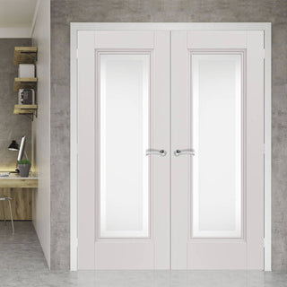 Image: J B Kind White Classic Belton Primed Door Pair - Etched Glass