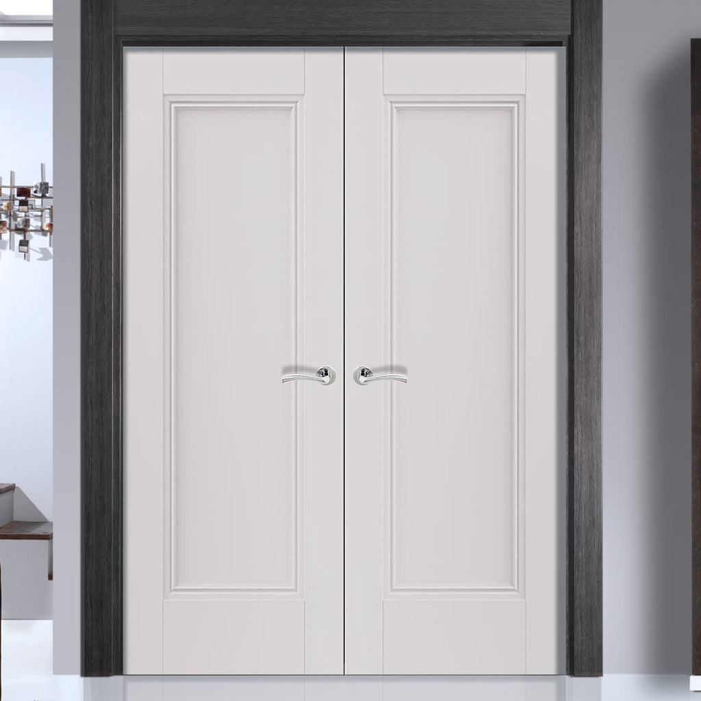 J B Kind White Classic Belton Panel Primed Door Pair