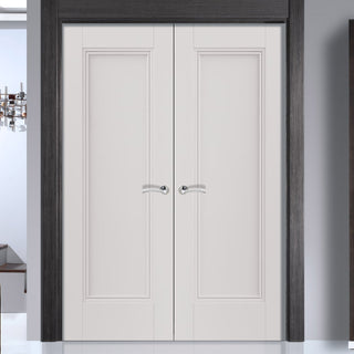 Image: J B Kind White Classic Belton Panel Primed Door Pair