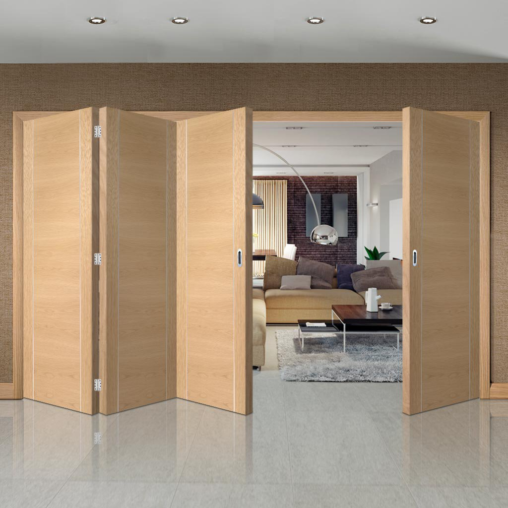 Bespoke Thrufold Forli Oak Flush Folding 3+1 Door - Aluminium Inlay - Prefinished