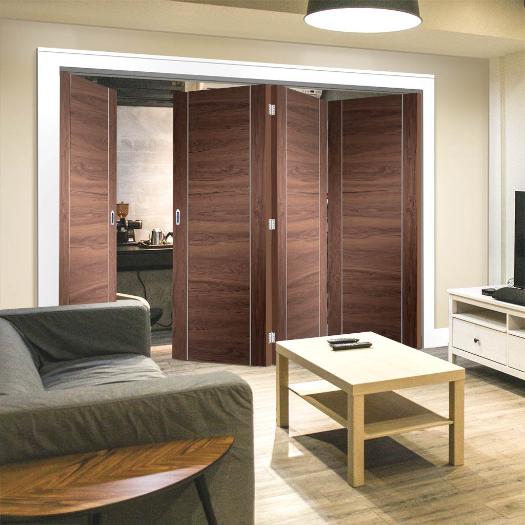 Bespoke Thrufold Forli Walnut Flush Folding 3+1 Door - Aluminium Inlay - Prefinished