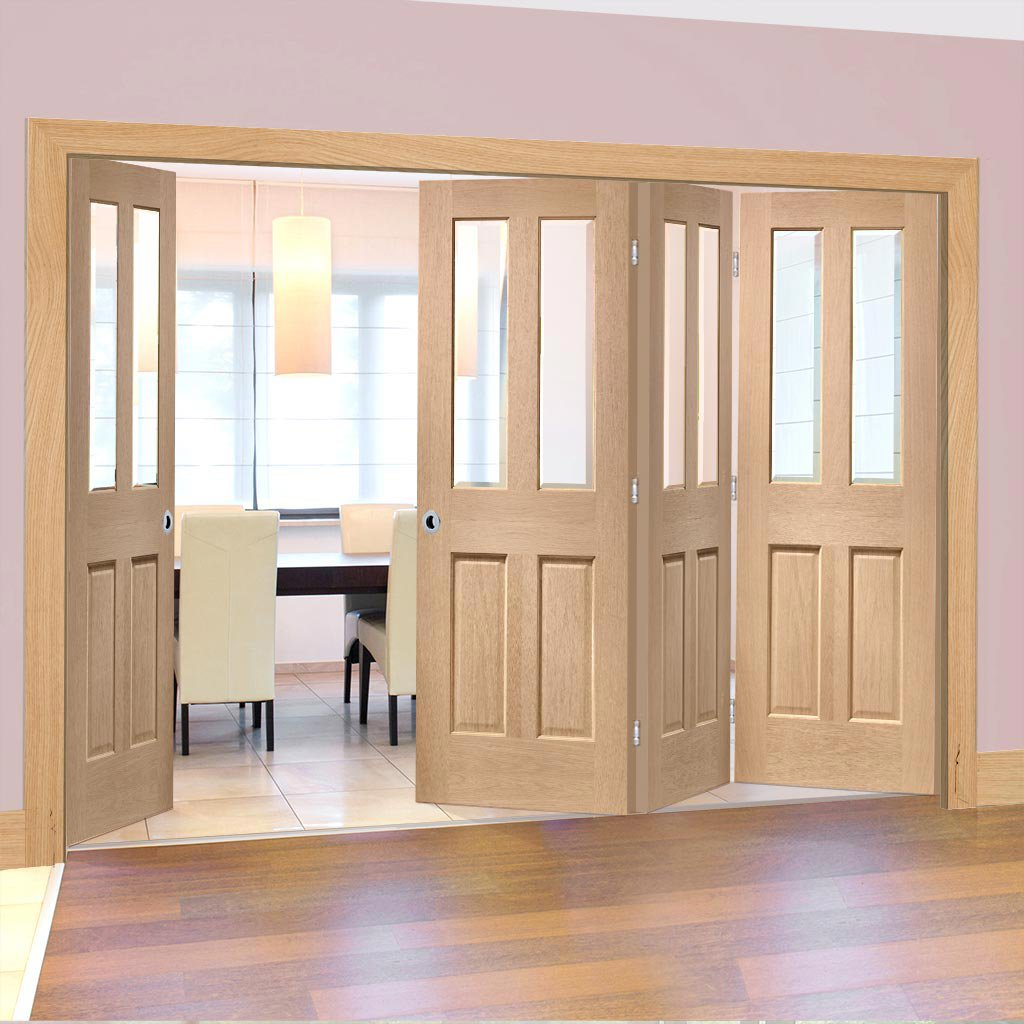 Bespoke Thrufold Malton Oak Glazed Folding 3+1 Door No Raised Mouldings - Prefinished