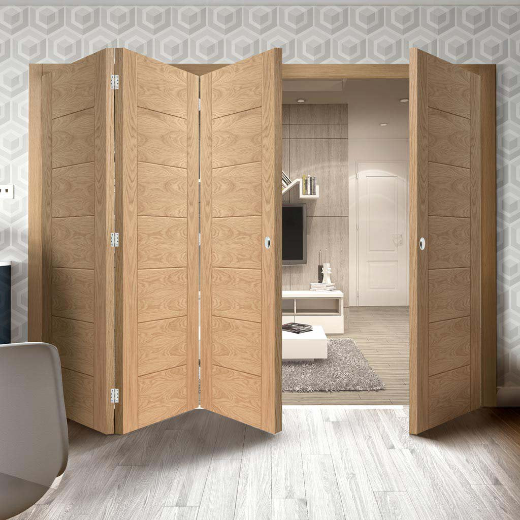 Bespoke Thrufold Palermo Flush Oak Folding 3+1 Door - Panel Effect