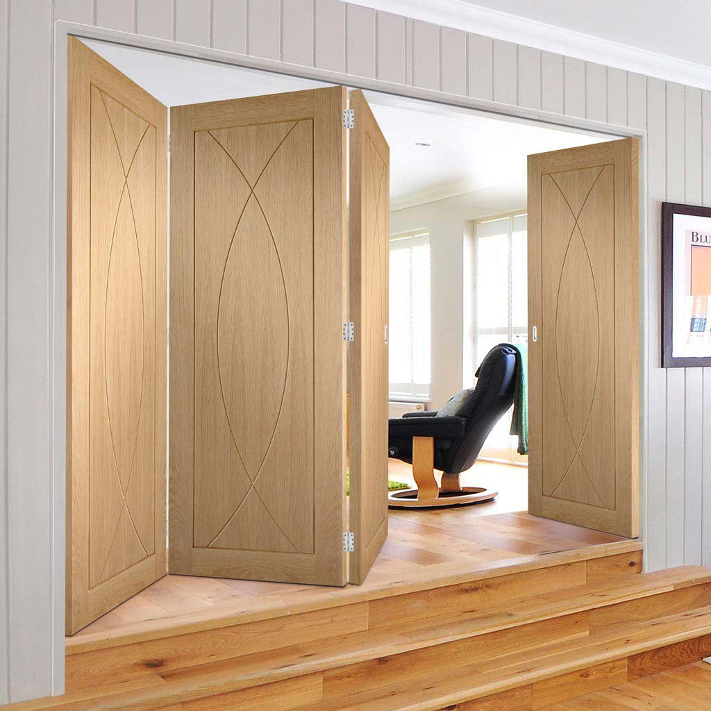 Bespoke Thrufold Pesaro Oak Flush Folding 3+1 Door - Prefinished