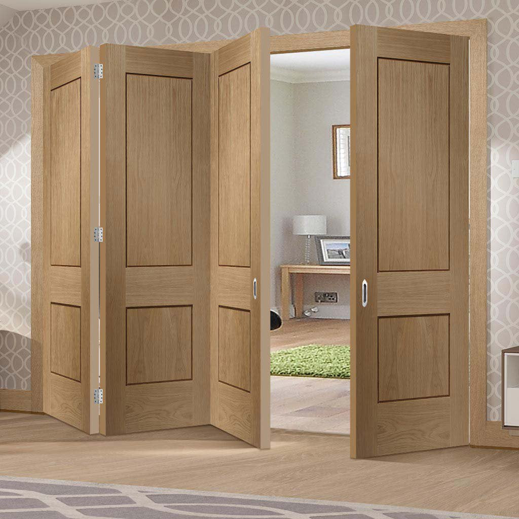 Bespoke Thrufold Piacenza Oak 2 Panel Flush Folding 3+1 Door - Groove Design