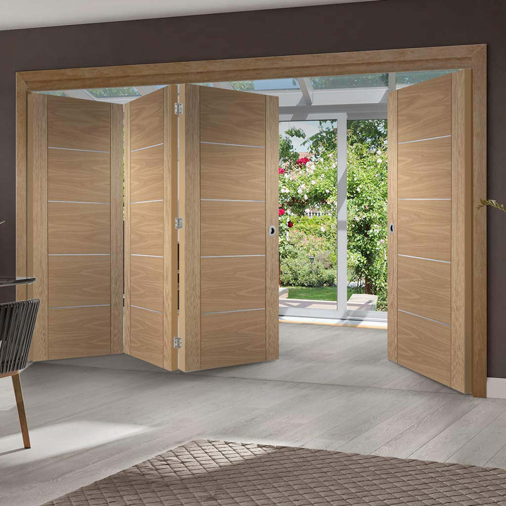 Bespoke Thrufold Portici Oak Flush Folding 3+1 Door - Aluminium Inlay - Prefinished