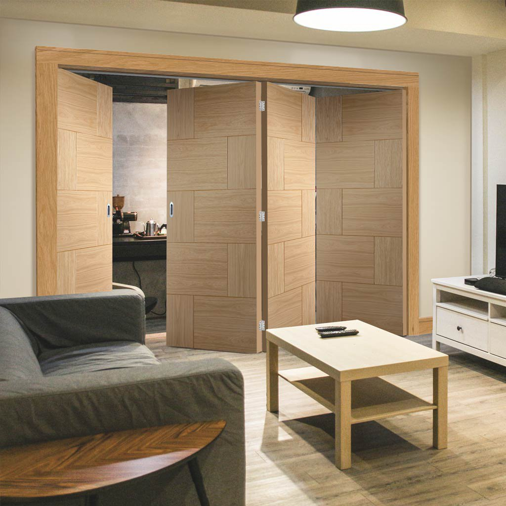 Bespoke Thrufold Ravenna Oak Flush Folding 3+1 Door