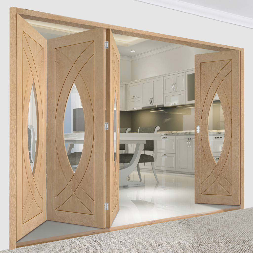 Bespoke Thrufold Treviso Oak Glazed Folding 3+1 Door
