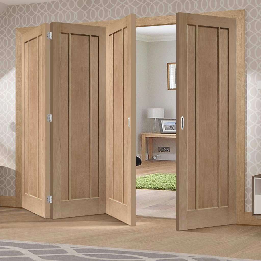 Bespoke Thrufold Worcester Oak 3P Folding 3+1 Door - Prefinished