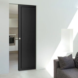 Image: Bespoke Industrial Single Frameless Pocket Door WK6351 - 4 Prefinished Colour Choices