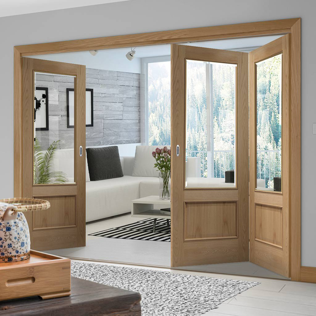 Bespoke Thrufold Andria Oak 1 Pane Glazed Folding 2+1 Door