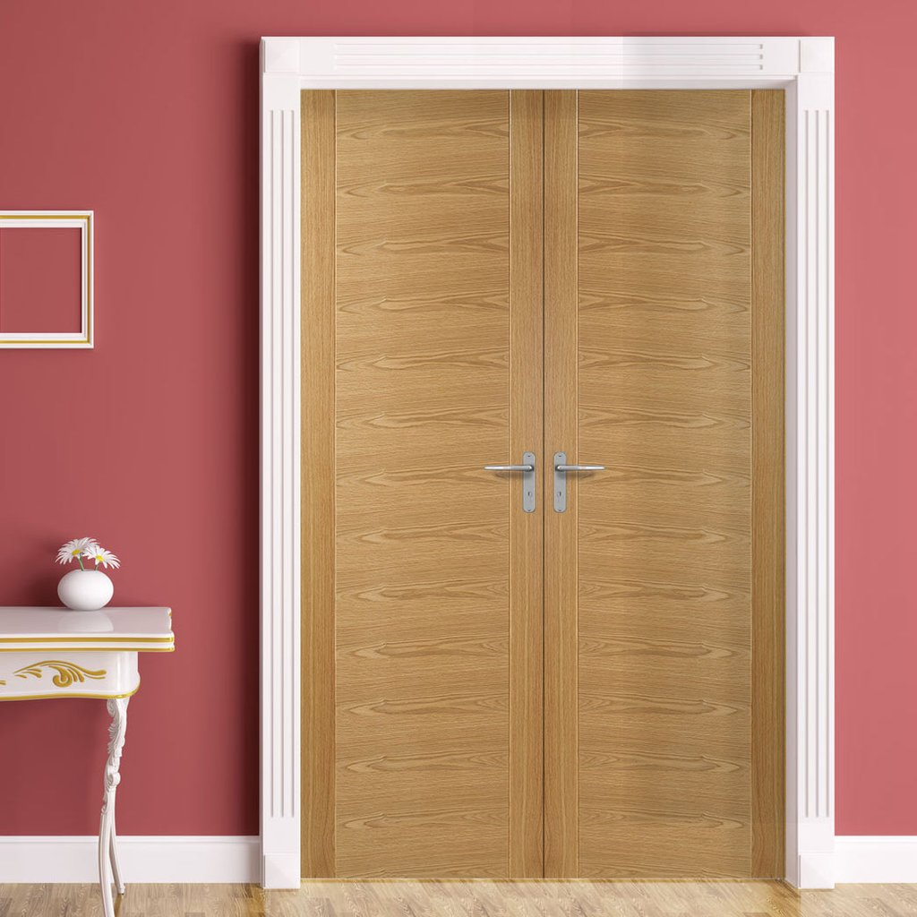 Bespoke Vancouver Oak 5P Flush Fire Door Pair - 1/2 Hour Fire Rated - Prefinished