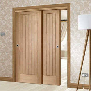 Image: Bespoke Thruslide Suffolk Oak - 2 Sliding Doors and Frame Kit
