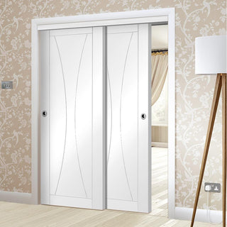 Image: Bespoke Thruslide Verona White Primed Flush - 2 Sliding Doors and Frame Kit