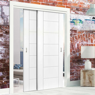 Image: Bespoke Thruslide Palermo White Primed Flush - 2 Sliding Doors and Frame Kit