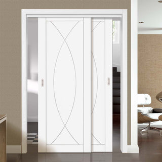 Image: Bespoke Thruslide Pesaro White Primed Flush - 2 Sliding Doors and Frame Kit