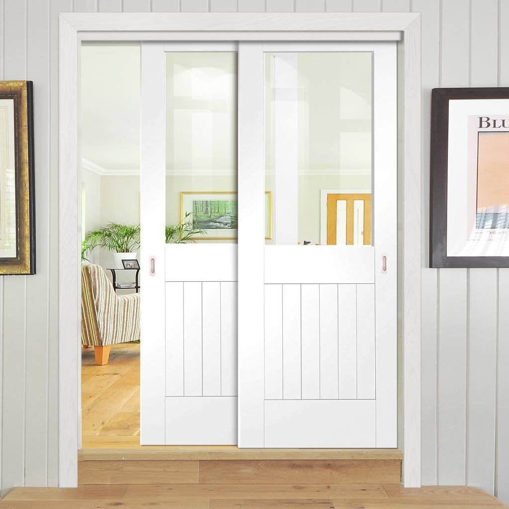 Bespoke Thruslide Suffolk Glazed - 2 Sliding Doors and Frame Kit - Whi