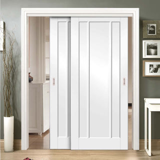Image: Bespoke Thruslide Worcester White Primed 3P - 2 Sliding Doors and Frame Kit