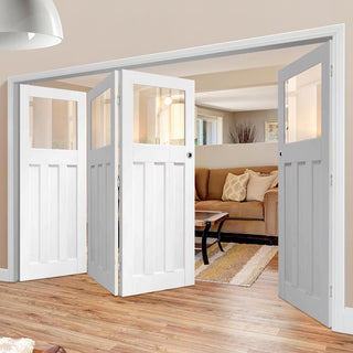 Image: Bespoke Thrufold DX 1930's White Primed Glazed Folding 3+1 Door