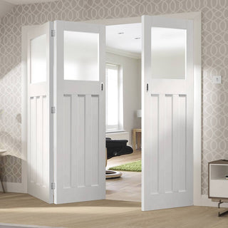 Image: Bespoke Thrufold DX 1930's White Primed Glazed Folding 2+1 Door