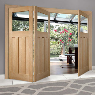 Image: Bespoke Thrufold DX Oak 1930's Style Glazed Folding 2+1 Door