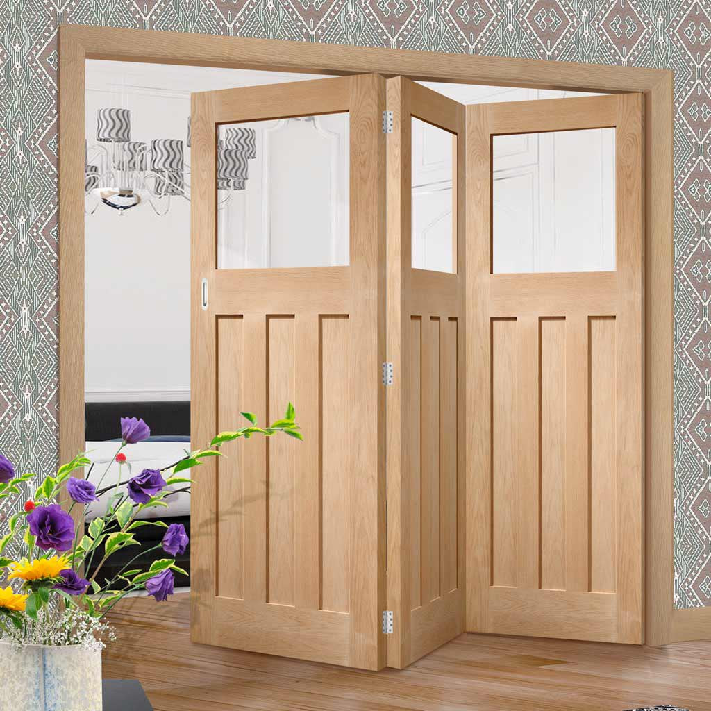 Bespoke Thrufold DX Oak 1930's Style Glazed Folding 3+0 Door