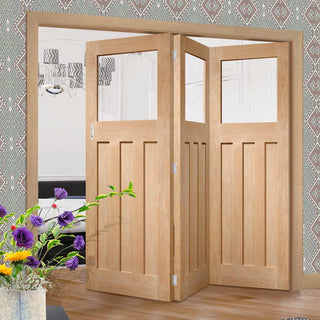 Image: Bespoke Thrufold DX Oak 1930's Style Glazed Folding 3+0 Door