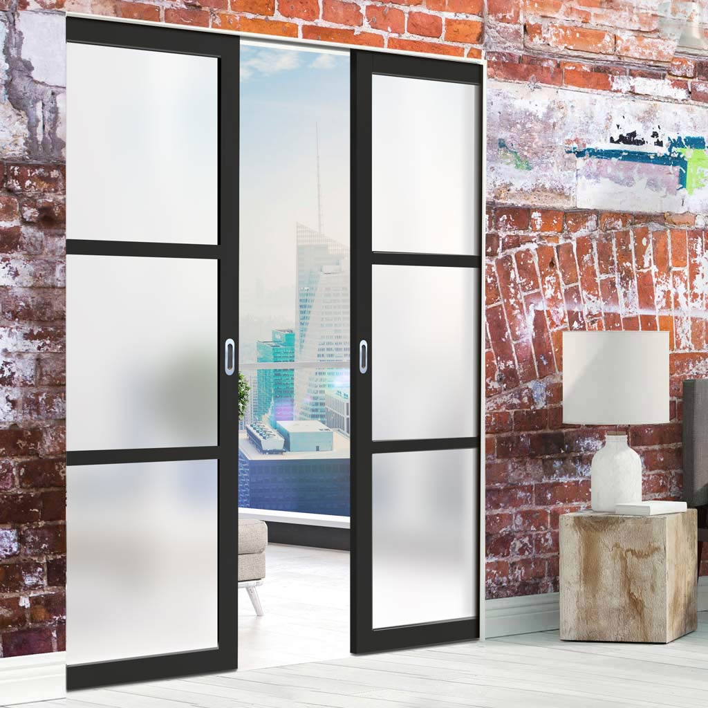 Bespoke Double Frameless Pocket Door WK6306 - Frosted Glass - 2 Prefinished Colour Choices