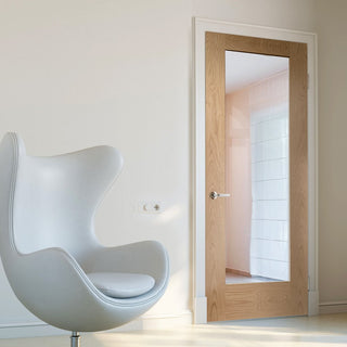 Image: Pattern 10 Oak 1 Pane Door with Clear Safety Glass