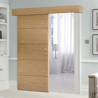 Image: Bespoke Thruslide Surface Lille Oak Flush Door - Sliding Door and Track Kit - Prefinished
