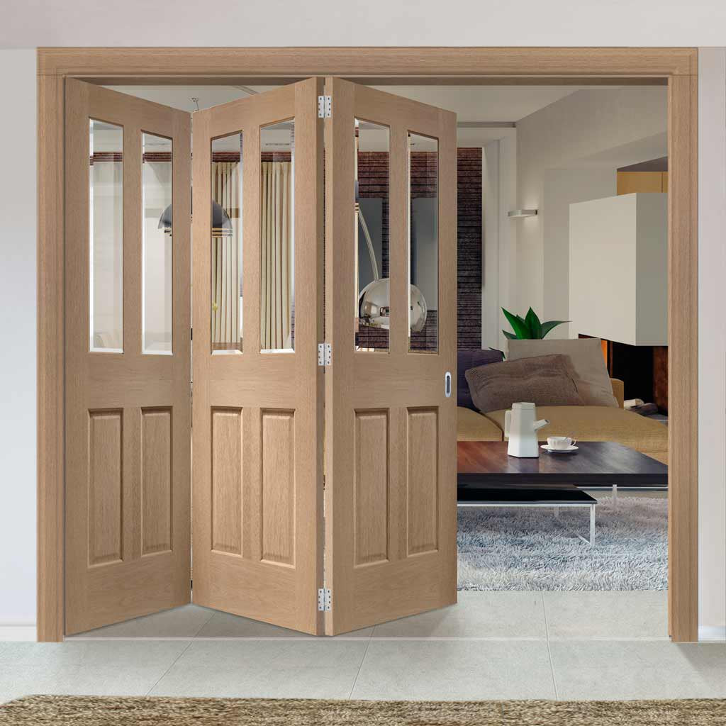 Bespoke Thrufold Malton Oak Glazed Folding 3+0 Door - No Raised Mouldings