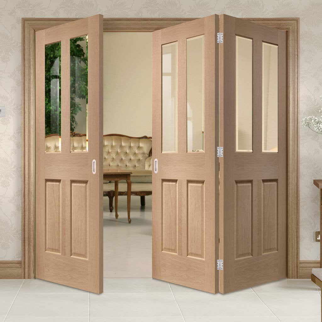 Bespoke Thrufold Malton Oak Glazed Folding 2+1 Door - No Raised Mouldings