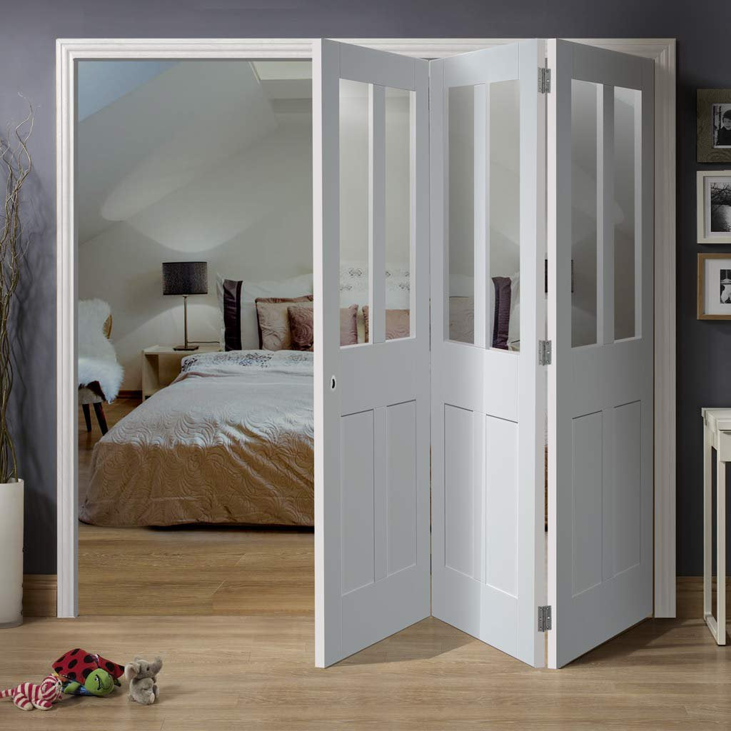 Bespoke Thrufold Malton Shaker White Primed Glazed Folding 3+0 Door