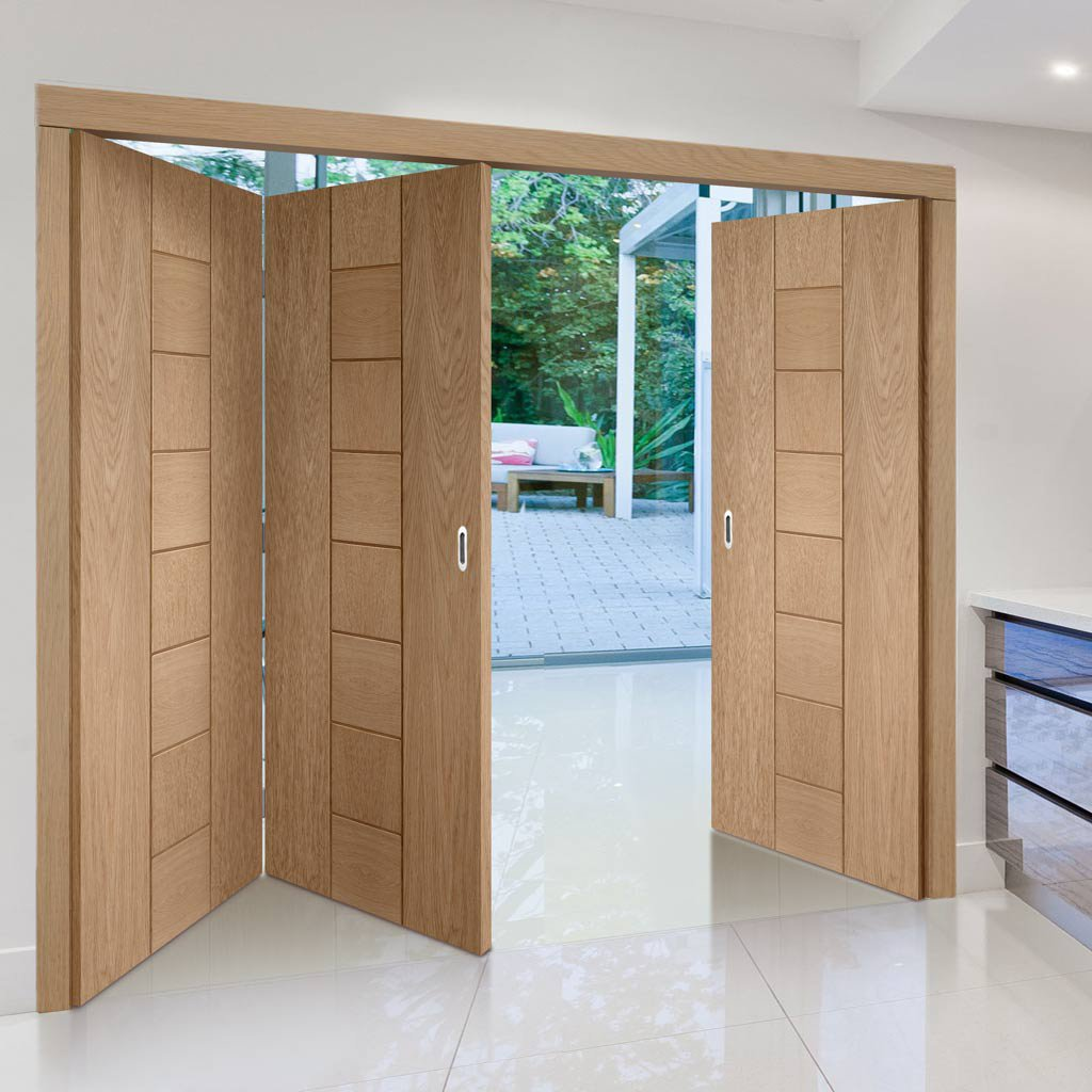Bespoke Thrufold Messina Oak Flush Folding 2+1 Door - Prefinished