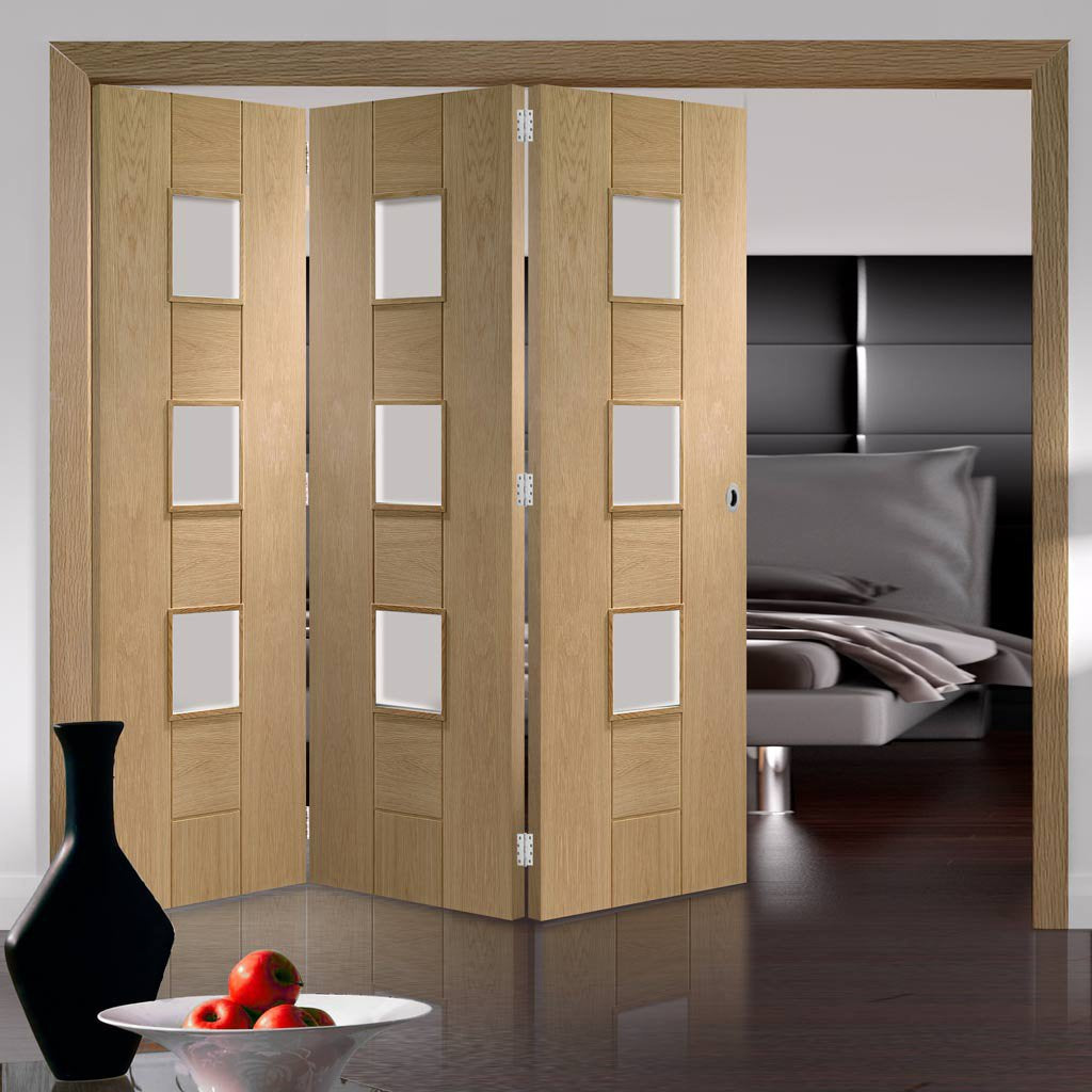 Bespoke Thrufold Messina Oak Glazed Folding 3+0 Door