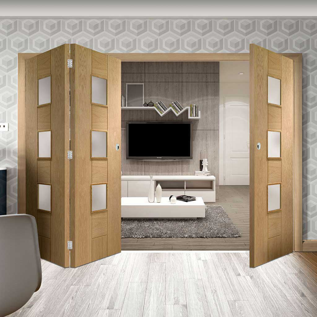 Bespoke Thrufold Messina Oak Glazed Folding 2+1 Door - Prefinished
