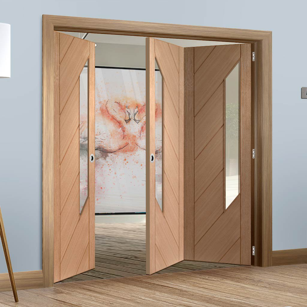 Bespoke Thrufold Monza Oak Glazed Folding 2+1 Door
