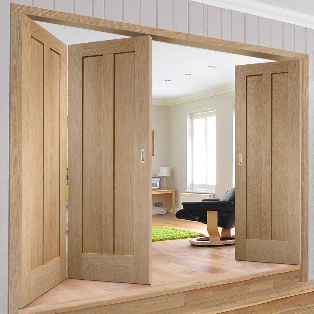 Bespoke Thrufold Novara Oak 2 Panel Folding 2+1 Door