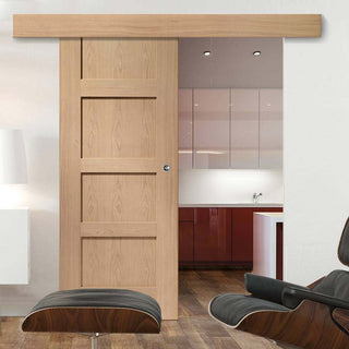 Image: Bespoke Thruslide Surface Shaker Oak 4 Panel - Sliding Door and Track Kit