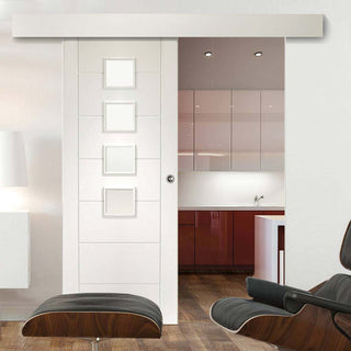 Image: Bespoke Thruslide Surface Palermo Glazed - Sliding Door and Track Kit - White Primed