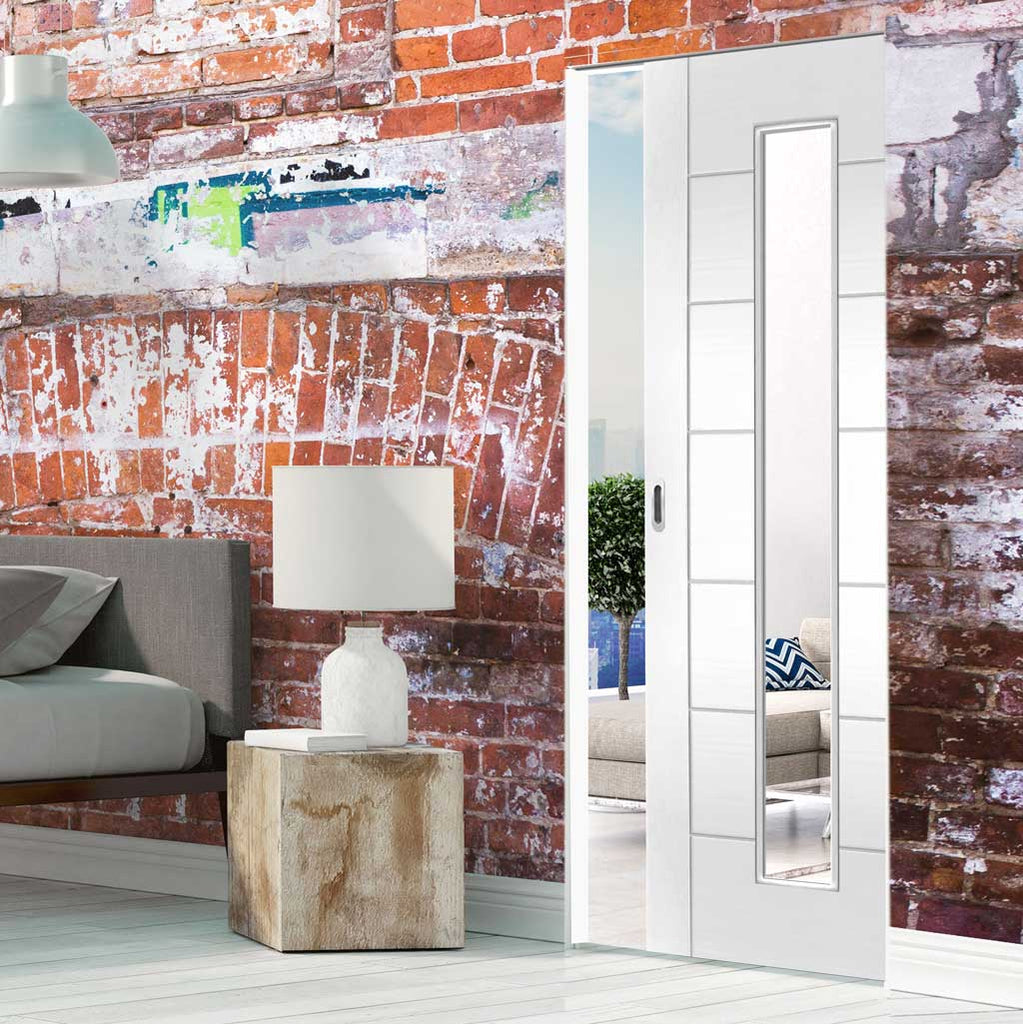 Bespoke Palermo 1L White Primed Glazed Single Frameless Pocket Door