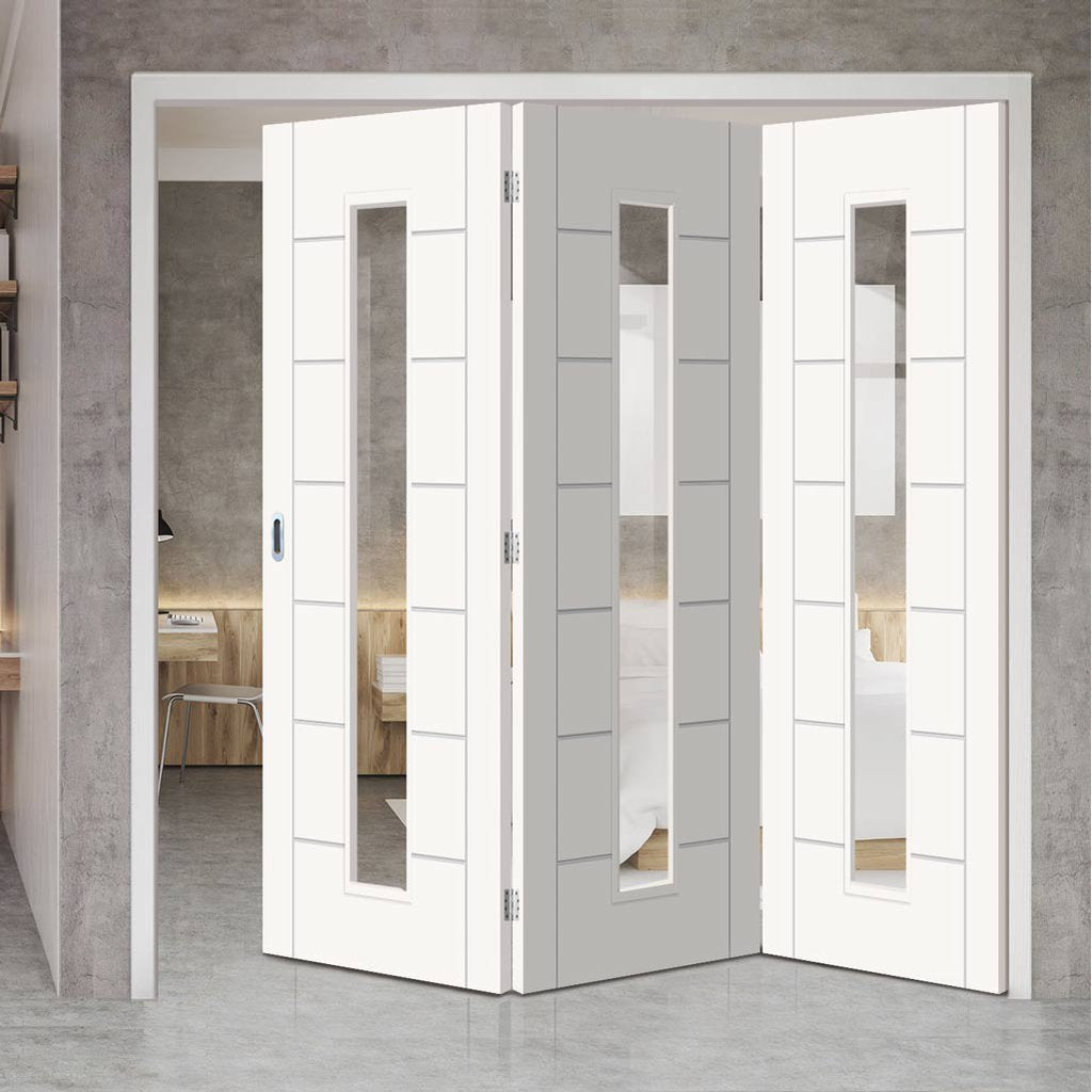 Bespoke Thrufold Palermo 1L White Primed Glazed Folding 3+0 Door