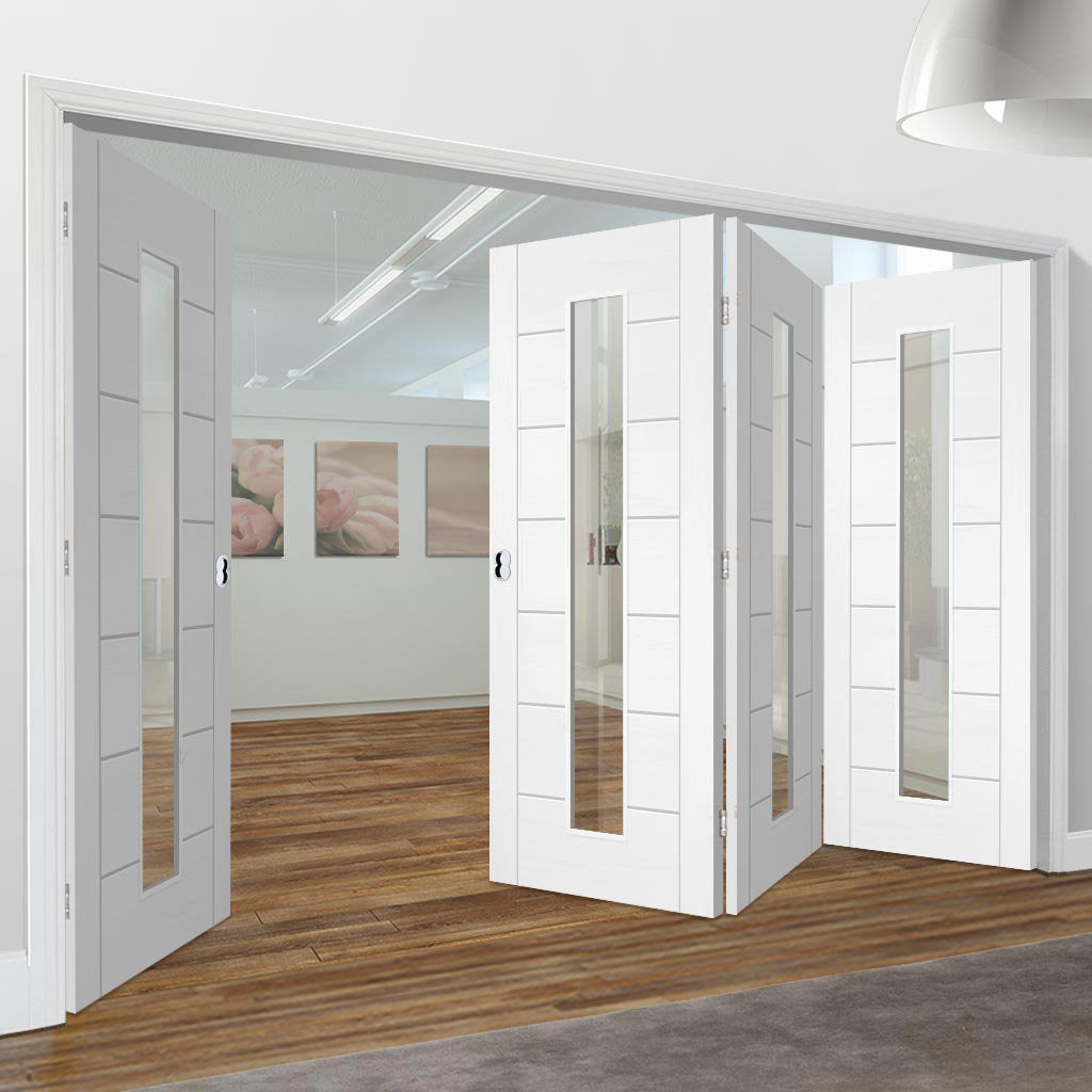 Bespoke Thrufold Palermo 1L White Primed Glazed Folding 3+1 Door