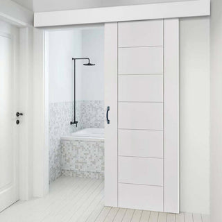 Image: Bespoke Thruslide Surface Palermo Flush - Sliding Door and Track Kit - White Primed